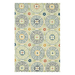Loloi Rugs - Loloi Rugs Tropez Ivory-Multi Contemporary Indoor / Outdoor Rug X-9332LMVI70-ZTP - Medallions are accentuated by four leaf clover-style centers surrounded by curled detailing on this Loloi Rugs indoor / outdoor rug. From the Tropez Collection, this contemporary rug features hand hooked construction with an Ivory backdrop and darker, complimentary tones. The 100% polypropylene is durable indoors and out.