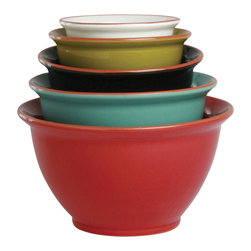 Tag Everyday - Terra Glazed Mixing Bowls, Set of 5, Multi Colored - Terra cotta. Dishwasher safe/may get hot in microwave. Includes 5 mixing bowls of various sizes. Hand painted. Pigment stops at the rim, exposing terracotta clay color. Crafted in portugal.