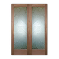 """Glass Front Entry Doors - Frosted Obscure Etched Glass - Banana Leaves 3D 100% P - Glass Front Doors, Entry Doors that Make a Statement! Your front door is your home's initial focal point and glass doors by Sans Soucie with frosted, etched glass designs create a unique, custom effect while providing privacy AND light thru exquisite, quality designs!  Available any size, all glass front doors are custom made to order and ship worldwide at reasonable prices.  Exterior entry door glass will be tempered, dual pane (an equally efficient single 1/2"""" thick pane is used in our fiberglass doors).  Selling both the glass inserts for front doors as well as entry doors with glass, Sans Soucie art glass doors are available in 8 woods and Plastpro fiberglass in both smooth surface or a grain texture, as a slab door or prehung in the jamb - any size.   From simple frosted glass effects to our more extravagant 3D sculpture carved, painted and stained glass .. and everything in between, Sans Soucie designs are sandblasted different ways creating not only different effects, but different price levels.   The """"same design, done different"""" - with no limit to design, there's something for every decor, any style.  The privacy you need is created without sacrificing sunlight!  Price will vary by design complexity and type of effect:  Specialty Glass and Frosted Glass.  Inside our fun, easy to use online Glass and Entry Door Designer, you'll get instant pricing on everything as YOU customize your door and glass!  When you're all finished designing, you can place your order online!   We're here to answer any questions you have so please call (877) 331-339 to speak to a knowledgeable representative!   Doors ship worldwide at reasonable prices from Palm Desert, California with delivery time ranges between 3-8 weeks depending on door material and glass effect selected.  (Doug Fir or Fiberglass in Frosted Effects allow 3 weeks, Specialty Woods and Glass  [2D, 3D, Leaded] will require approx. 8 w"""