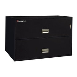 SentrySafe L4300 Insulated 2 Drawer Lateral Filing Cabinet - 43 Inch - The lateral footprint design of the SentrySafe L4300 Insulated 2 Drawer Lateral Filing Cabinet - 43 Inch provides extra space for higher volume filing needs. This sleek cabinet is constructed from heavy-duty metal that's been thoroughly insulated against dust and debris and provides phenomenal fire protection. UL-Classified explosion resistance and fire endurance for up to one hour of 1700-degree temperatures make this a formidable chest that you can always depend on to keep your business records and valuables safe. Of course, it isn't always the elements that pose a threat to your treasured keepsakes and important documents. To provide maximum security, a plunger key lock has been included to secure both drawers. A drawer-specific lock/unlock function is also featured so you can isolate access to certain drawers while keeping others tightly sealed. Each of these drawers opens with easy-to-use recessed handles with label holders and accommodates letter- and legal-size hanging file folders. The overall dimensions of this unit are 42.8W x 20.5D x 27.6H inches. Available in your choice of black, gray, light gray, sand, tan, and putty finish.Shipping OptionsDock-to-Dock Freight ServiceNo additional charge. Dock-to-dock includes commercial freight delivered to a commercial loading dock. Recipient is responsible for unloading product, final placement, unpack, and debris removal. Not available for residential deliveries.Curbside DeliveryDelivery personnel will present goods to ground level at rear of delivery vehicle. Recipient is responsible for final movement of goods, unpack, and debris removal. Curbside delivery will not bring the item up to a residence.Threshold ServiceDelivery personnel will remove goods from truck and place goods inside first exterior doorway, garage, or carport. Service includes up to four steps exterior to the first doorway. Customer is responsible for final product placement, unpack, and debris removal. Inside Delivery ServiceDelivery personnel will remove goods from truck, place goods in your room of choice, and complete unpack and debris removal. Includes lift gate service and stair carry of 0-4 internal and external steps. Does not include site preparation or protection.About SentrySafeFor over three generations, family-owned SentrySafe has been with you, protecting your valuables, providing you peace of mind. SentrySafe uses rigorous testing standards to ensure your items are protected from fire, water, and theft. They offer safes in a wide range of sizes and types, and continue to innovate protection technology. They are proud to make all of their products right here in the United States. SentrySafe is a name you can trust for all your irreplaceable items.