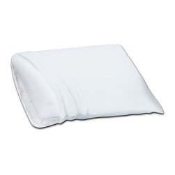 Living Healthy Products - Foam Fiber - Reversible Memory Foam Classic Pillow - Half-MemoryFoam/ Fiber Fill - Poly/Memory Foam Pillow -  International Inc. Memory foam and fiber pillow. It is like two pillow in one. It is a traditional shaped bed pillows with hypoallergenic memory foam on one side and hypoallergenic super soft poly fiber on the other side. Positions your head and neck for comfort. The pillow comes with a 250 thread count 100% cotton woven stripe sateen zippered pillow cover.