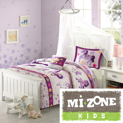 Mi-Zone - Mizone Kids Pony Dreams 4-piece Comforter Set - Magical purple and white ponies gallop across a lavender background in the Pony Dreams comforter set. Each image is outlined and quilted creating extra dimension to this beautiful collection.