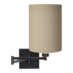 "Lamps Plus - Contemporary Tan Cylinder Shade Espresso Swing Arm Wall Light - This plug-in dimmable swing arm wall light is an attractive functional way to add light to your bedside or favorite seating area. It comes in a rich espresso bronze finish with a cotton blend tan cylinder shade. Installation is easy: simply attach the lamp to the wall and plug it into any standard outlet using the cord provided. Espresso finish. Tan cotton blend cylinder shade. Dimmable. Maximum 60 watt or equivalent bulb (not included). Shade is 11"" high 8"" round. Backplate is 5 1/2"" square. Arm extends 20"" from the wall.  Espresso finish.  Tan cotton blend cylinder shade.  Dimmable.  Maximum 60 watt or equivalent bulb (not included).  Shade is 11"" high 8"" round.  Backplate is 5 1/2"" square.  Arm extends 20"" from the wall."