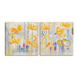 """Omax Decor - Sunflower Supreme Hand painted 2 Piece Canvas Set - Overall size: 32"""" x 64"""" (32"""" x 32"""" x 2 pc). Enjoy a 100% Hand Painted Wall Art made with acrylic paints on canvas stretched over a 1"""" thick wooden frame. The painting is professionally hand-stretched and ready to hang out of the box. With each purchase of our art you receive a one of a kind piece due to the handcrafted nature of the product."""