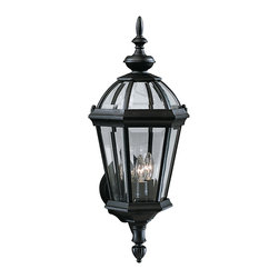 Kichler 3-Light Outdoor Fixture - Black Exterior - Three Light Outdoor Fixture. Utilizing classic design elements from colonial America, the Trenton collection offers timeless design for today's aesthetic. Our striking black finish helps recreate the look and feel of fixtures formed by blacksmiths hundreds of years ago. Skilled artisans re-create these handcrafted works of art from high quality cast aluminum with clear beveled glass panels to ensure the Trenton will last for years. If you're looking for a memorable fixture, this outdoor wall lantern is the perfect way to update your home's profile. Its three light design employs 60-watt bulbs for optimum lighting while the 14 high lantern is UL listed for wet locations.