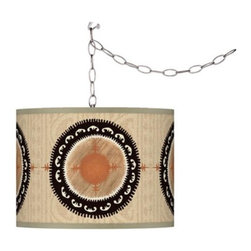 Travelers Compass Giclee Plug-In Swag Chandelier - Let your lighting do double duty! Use this pendant to brighten your space and add some pattern at the same time.