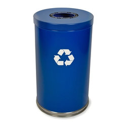 Witt Industries - Witt Industries Single Opening 33 Gallon Blue Recycling Bin - 18RTBL-1H - Shop for Recycling Bins from Hayneedle.com! Additional FeaturesIncludes recycling labels to clearly mark your binLid is easy to put on and lift offDurable steel constructionBin holds 33 gallons of recyclablesEncourage recycling in the workplace by making it easy to do with the Witt Industries Single Opening 33-Gallon Blue Recycling Bin. The large opening in the lid makes it simple to drop things in when your employees walk by or it might even start a game of recycling basketball as your employees see who can score the highest by tossing their recyclables into the bin from their seats. Designed to hold bottles cans glass paper or plastic labels are included to clearly mark each container as a recycling bin. Constructed from durable steel for longevity a plastic liner is included to keep the inside of the bin clean.About Witt IndustriesWith its rich and established history in the steel waste receptacle manufacturing industry that dates back to 1887 Witt Industries has been in the forefront with its innovation quality and service. The company's founder George Witt invented and patented the first corrugated galvanized ash can and lid back in 1889 and the company has never looked back. Today Witt Industries is part of the Armor Metal Group and is a woman-owned business.