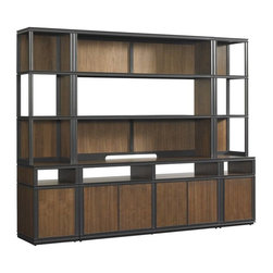 Stanley Furniture - Montreux-Media Wall - Open and airy, this four-piece Media Center efficient shelving and cabinet space.