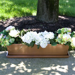 Rectangular Copper Planter and Tray - Coordinating well with any style home decor, the Rectangular Copper Planter features a clean and simple design.