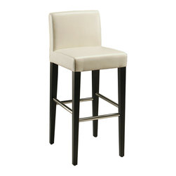 """Pastel Furniture - Equinoii Barstool - This beautifully made contemporary barstool has a simple yet elegant design that is perfect for any decor. An ideal way to add a touch of modern flair to any dining or entertaining area in your home. This barstool features a wood frame with sturdy legs finish in ballarat black with a foot rest in stainless steel. The padded seat is upholstered in bonded white leather offering comfort and style. Available in 26"""" counter height or 30"""" bar height."""