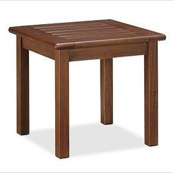"""Chatham Side Table - Stylish and simple, our solid mahogany side table features a classic slatted top, softly curving lines and a warm honey finish. It's easy to reposition for entertaining - or to group in multiples to create a table of any size. Click to read an article on {{link path='pages/popups/chatham-care_popup.html' class='popup' width='640' height='700'}}recommended care{{/link}}. 20.5"""" square, 18.5"""" high Crafted of solid mahogany and sealed for moisture resistance. Exposed hardware has an antique brass finish. Simple assembly. View our {{link path='pages/popups/fb-outdoor.html' class='popup' width='480' height='300'}}Furniture Brochure{{/link}}."""