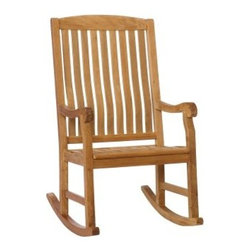 Southern Enterprises Teak Porch Rocker - Natural Oil - Enjoy your evening beverage on your porch sitting on the Southern Enterprises Teak Porch Rocker - Natural Oil. Made for outdoor use, this rocker is made of quality material that can sustain the wear and tear of daily use. The 100 percent teakwood construction makes this rocker highly durable. Moreover, the slatted design allows the chair to dry faster. Apart from this, its spacious seat, armrests and rocker legs add to its comfort. Its natural oil finish gives it a visually appealing charm.About SEI (Southern Enterprises, Inc.)This item is manufactured by Southern Enterprises or SEI. Southern Enterprises is a wholesale furniture accessory company based in Dallas, Texas. Founded in 1976, SEI offers innovative designs, exceptional customer service, and fast shipping from its main Dallas location. It provides quality products ranging from dinettes to home office and more. SEI is constantly evolving processes to ensure that you receive top-quality furniture with easy-to-follow instruction sheets. SEI stands behind its products and service with utmost confidence.