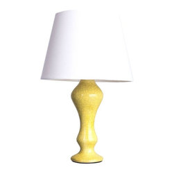 "Pre-owned Yellow Crackle Finish ""Arnie"" Lamp - Curvy and colorful, this ""Arnie"" lamp comes in a shiny, sunny, crackled yellow finish. Sure to make that side table stand out!  Multiple quantities available - please contact Chairish customer support with inquiries. Shade is not included."