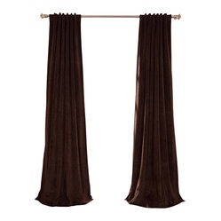 Exclusive Fabrics & Furnishings, LLC - Signature Java Blackout Velvet Curtain - Keep the light out and the heat in with these luxurious, lustrous curtains. Crafted from soft poly velvet and available in a variety of rich colors, they'll give your windows the royal treatment.