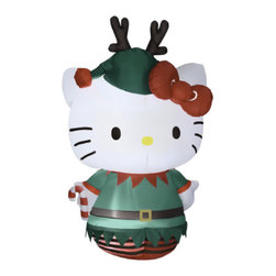 None - 5.5-foot Air blown Hello Kitty Dressed as an Elf - Get into the holiday spirit with this adorable blow up Hello Kitty dressed as an Elf. This Hello-Kitty self-inflates in seconds and gets over five feet tall. Your neighbors will all be jealous.