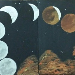 Blood Moon (Original) by Krystal Rosado - This painting was inspired by the blood moon on April 2014 . Its a two piece canvas 2(16x20)