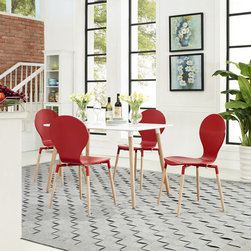 Path Dining Chairs and Table Set of 5 in Red (EEI-1371-RED) - Find your center of balance in the circular path of life. Path's simple fluid lines subtly generate a powerful statement. Sit down, breathe deeply on the fiberboard frame and solid beech wood legs, and let the conversations and ideas begin to flow. Set Includes: Four - Path Dining Chairs One - Path Dining Table