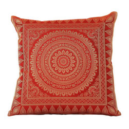 Banarsi Designs - Exotic Oriental Pillow Covers, Red, Set of 2 - The Exotic Oriental Pillow Cover brings beauty and style to your surroundings. Crafted in India, these gorgeous throw pillow covers are available in a variety of unique colors. Choose from a great variety of colors in our collection or mix and match your favorite pillow covers together to create a customized look for your home.  Zippers allow for easy removal and the 16 X 16 size fits most throw pillows in your home. Perfect for decorating your living room, guest rooms and bedrooms.