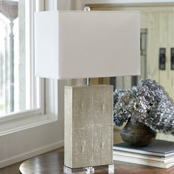 Frontgate - Shagreen Column Lamp - Ivory-grey finish. Cruelty-free faux stingray shagreen. Uses one 60-watt bulb. UL dry listed. Cord measures 8'. As artful as it is practical, the Shagreen Column Lamp features an ivory-green finish on its cruelty-free faux stingray base. Placed atop an acrylic block and complemented by a neutral linen shade, this light fixture will add texture, style and elegance to any space.  .  .  .  .  . Includes neutral linen shade .
