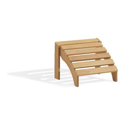 Oxford Garden - Adirondack Footstool - The perfect addition to our Adirondack Chair.  This foot stool has been designed to complement our Adirondack Chair by using the same shapes and dimensions.  It not only looks great, it feels great too!  This foot stool is made of shorea, a teak family wood that is more dense and heavy than teak.  Shorea requires no finishing and will not rot when left outdoors where rain and sun will damage other lesser quality woods.  Left untreated, shorea will weather to a soft warm shade of gray similar to the weathering of teak.  Sturdy mortise and tenon construction provides the highest quality joinery that will last for many years.  Original color can be maintained by applying a seasonal coat of teak oil.