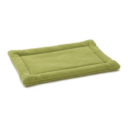 West Paw Design - Nature Nap dog kennel mat in Moss Green color option; Xsmall-Xlarge, Large - Perfect dreams start with the perfect bed! Made from soft and cozy fabric, Nature Nap® pet beds are where dreams begin. Unlike other dog mats on the market, Nature Nap's custom designed fabric has a poly-knit backing that interlocks the fibers to add strength and reduce shedding without sacrificing softness. Extra layer of padding is comprised of recycled IntelliLoft® fiber batting, which is carefully sewn inside to eliminate bunching and create a raised edge for added support and comfort. Machine Washable. Handcrafted in Montana.