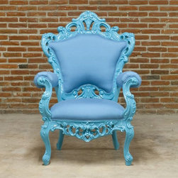 French Provincial Outdoor Furniture - The French Provincial design of this grand armchair from Pol Art creates a striking design statement that sets the mood for any setting where it is placed.