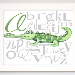 "Doodlefish - Alligator Alphabet - Learning can be fun with the play on typography that incorporates a cute alligator that represents the ""A"". Hang alone or pair with other letters from the alphabet for colorful and educational wall art. The artwork is a high quality giclee print that is finished in a sleek, flat white frame. The original artwork was created by Regina Nouvel. The finished size of the artwork is 16"" wide x 13"" tall. The artwork is created and produced in the USA."