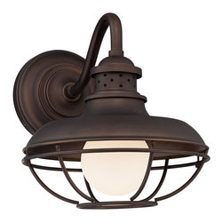 "Franklin Iron Works - Country - Cottage Franklin Park Metal Cage 13"" High Bronze Outdoor Wall Light - This outdoor wall light has a vintage inspired look that matches any style of decor. A warm oil-rubbed bronze finish complements the industrial metal cage creating a sense of distinct elegance for your home. From Franklin Iron Works™. Oil-rubbed bronze finish. Metal cage. Maximum 60 watt or equivalent bulb (not included). 12"" wide. 13"" high.  Metal cage downlight.  Oil-rubbed bronze finish.  Maximum 60 watt or equivalent bulb (not included).  12"" wide.  13"" high.  Extends 17"" from wall."