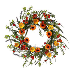 Regency International - Ranauculus & Sylvia Wreath - Boasting rich hues that look fresh from the garden, this wreath adds a welcoming, nature-inspired touch to the front door.   20'' diameter Polyester / plastic / wire Imported
