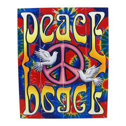 Zeckos - Brightly Painted Tie-Dye Peace Dove Wooden Slat Wall Hanging - This brightly painted wooden (medium density fiberboard) slat wall hanging is a great addition to the home, office, or garage of current or past hippies. It measures 20 inches tall, 16 inches wide, and features a pink peace symbol with a pair of doves, against a tie-dye background, with the word Peace in a psychedelic font printed right side up at the top and upside down at the bottom. It has a wire hanger on the back, and can hang with one or two nails or picture hangers. It makes a great gift, and is sure to be admired.