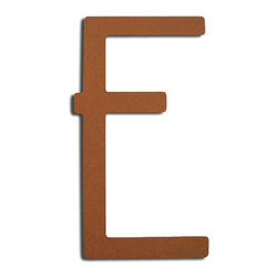 Rust Contemporary House Letters - These Rust Powder Coat house letters have a modern style that will complement any home's exterior. Each number is sold individually and mounts from behind for a seamless look.