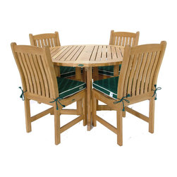 Westminster Teak Furniture - Barbuda 5pc Teak Round Gateleg Dining Table Set - Consists of one 48 inch diameter Round Barbuda Folding Teak Table and four Veranda Classic Teak Dining Chairs. Umbrella Ready.  Lifetime Warranty.  Grade A Teak Wood.