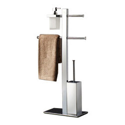 Gedy - Floor Standing Chromed Brass Bathroom Butler With Towel Holder - Free-standing contemporary style chrome bathroom butler. Bath butler with toilet roll holder, soap dispenser, sliding towel rail, and toilet brush with bristle brush. Free standing butler made out of satin or frosted glass and brass with a polished chrome