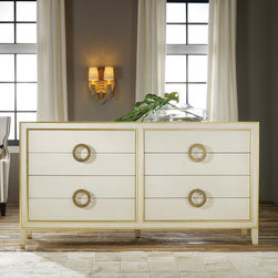 "Modern History - Modern History Home Abstract Dresser Antique White - Chic and sultry, the Abstract dresser shines with mid-century modern style. Golden accents and sleek round pulls highlight its antique white fae��_ade with glamorous appeal. 76""W x 22""D x 40""H; Hardwood veneer; Brass pulls; 6 drawers; Dovetailed joints"
