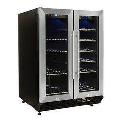 Vinotemp - Vinotemp - VT-36 Wine and Beverage Cooler - Store all your drinks in one compact unit with Vinotemp's Wine and Beverage Cooler. Ideal for those with limited space, this multi-purpose cooler can hold an array of beverages from wine to water bottles. Between two individual temperature-controlled compartments, up to 19 bottles of wine and up to 58 12 oz cans can be stored.