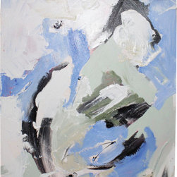Piece XI - Modern art need not be a color explosion. Keila pairs baby blue with neutrals to create a fantastic piece with a more subdued palette.