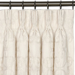 """Eastern Accents - Evelyn Desiree Pearl Curtain Panel Set - Dress the room in luxury with a deluxe window treatment, crafted with excellence from the finest materials. The solid ivory palette of the Evelyn Desiree Pearl curtain panel set is given depth and texture with thick scrolling embroidery in white. And a generous two and a half times fullness gives this design rich, deep folds with full coverage. These exquisite curtain panels are made from high quality drapery fabric and include a medium weight 100% cotton lining. Curtains are finished with a 3-finger pinch pleat header and can be hung on rings or a traverse rod (5 pleats per panel). Set of two curtain panels is available in three sizes. Professional cleaning recommended. Curtain panels measure 40""""W x 84""""L, 40""""W x 96""""L or 40""""W x 108""""L (available individually), Weighted corners and a 4"""" double hem help curtains maintain shape and fullness of fall, Blind stitched with hidden hems and seams, Includes seven drapery pins, Choose a medium weight 100% cotton flannel interlining or a 95% light exclusion blackout lining by custom order, email shop@laylagrayce.com.."""