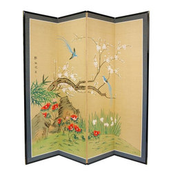 Decorative Folding Screens - Large (6ft. x 6ft.), hand painted ink and watercolor silk screen.