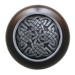 """Notting Hill - Notting Hill Celtic Isles/Dark Walnut Wood Knob - Antique Pewter - Notting Hill Decorative Hardware creates distinctive, high-end decorative cabinet hardware. Our cabinet knobs and handles are hand-cast of solid fine pewter and bronze with a variety of finishes. Notting Hill's decorative kitchen hardware features classic designs with exceptional detail and craftsmanship. Our collections offer decorative knobs, pulls, bin pulls, hinge plates, cabinet backplates, and appliance pulls. Dimensions: 1-1/2"""" diameter"""