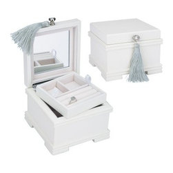 Reed & Barton Emma White Jewelry Box - 6W x 4.375H in. - Small in size, but big in style, the Emma Jewelry Chest from Reed & Barton adds personality to any vanity while keeping everything close at hand. Part of the Small Wonders Jewelry Chest collection, this jewelry box features a white finish, pearl white flocked interior, mirrored lid, and lush silver tassel. About Reed & Barton/Eureka Mfg.Founded in 1824, Reed & Barton enjoys a reputation as one of the country's foremost marketers of fine tableware and giftware. Recognized for design excellence and the highest quality workmanship, Reed & Barton offers an array of exceptional products that satisfy a broad range of tastes. Today the Reed & Barton name graces fine flatware, dinnerware, crystal, giftware, and picture frames, as well as a wide variety of expertly made, handcrafted flatware and jewelry chests. For more than 183 years, Reed and Barton products have been the choice of those with discriminating taste. Their unwavering commitment to quality and customer satisfaction can be found in every product that bears the Reed & Barton name.