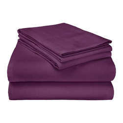 Flannel Sheet Solid - Twin - Purple - Our Flannel Sheets are made from premium quality cotton. The flannel is also thoroughly brushed in order to ensure optimal softness and comfort. Set includes One Flat Sheet 66X96, One Fitted Sheet 39x75, and One Pillowcase 20x30.