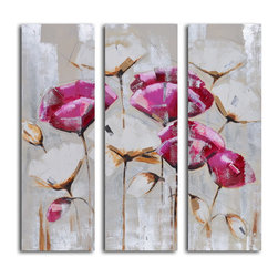 """My Art Outlet - Pink & White Poppy Triptych Hand Painted Canvas Wall Art - Size: 48"""" x 48"""" (16"""" x 48"""" x 3pc). Enjoy a 100% Hand Painted Wall Art made with oil and acrylic paints on canvas stretched over a 1"""" thick inner wooden frame. The painting is gallery wrapped and ready to hang out of the box. A very stylish addition to any room that is sure to get the attention of guests."""