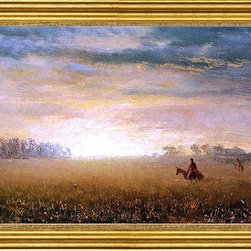 "Albert Bierstadt-14""x28"" Framed Canvas - 14"" x 28"" Albert Bierstadt Sunset of the Prairies framed premium canvas print reproduced to meet museum quality standards. Our museum quality canvas prints are produced using high-precision print technology for a more accurate reproduction printed on high quality canvas with fade-resistant, archival inks. Our progressive business model allows us to offer works of art to you at the best wholesale pricing, significantly less than art gallery prices, affordable to all. This artwork is hand stretched onto wooden stretcher bars, then mounted into our 3"" wide gold finish frame with black panel by one of our expert framers. Our framed canvas print comes with hardware, ready to hang on your wall.  We present a comprehensive collection of exceptional canvas art reproductions by Albert Bierstadt."