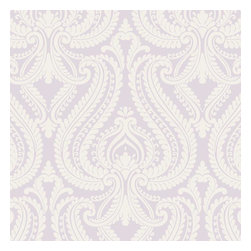 Brewster Home Fashions - Imperial Lavender Modern Damask Wallpaper Bolt - This feminine chic wallcovering adds both style and charm to walls with a lush lavender palette and luxe swirling details.