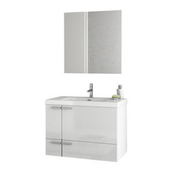 ACF - 31 Inch Glossy White Bathroom Vanity Set - Set Includes: Vanity Cabinet (2 Doors,1 Drawer), high-end fitted ceramic sink, wall mounted vanity mirror.