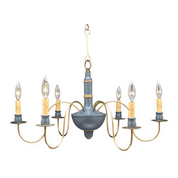 Northeast Lantern - Wood Chandelier Dark Brass Arms Blue Body Mustard Trim - Wood Chandelier Dark Brass Arms Blue Body Mustard Trim. Carton size: 26x26x26. Mounting Area: 5 Diam.