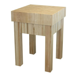 """Chelsea Home - Michael Prep Table with Butcher Block Top - The Michael Butcher Block will withstand even the biggest chopping jobs, as it's built to last a lifetime! It features a 6 inch thick maple top and a 2 tier knife drawer to keep all of your kitchen tools within reach. Features: -Material: Mortise and tenon solid wood. -2 Tiers knife block drawer and a work area accessible from all sides. -Made in the USA. Dimensions: -34"""" H x 25"""" W x 25"""" D, 140 lbs."""