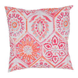 "Jaipur Rugs - Pink/Red color polyester od summer breeze poly fill pillow 18""x18"" - These fashion forward pillows, in trellis, stripes and whimsical patterns are for both indoor and outdoor use."