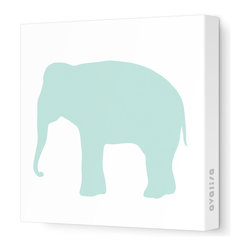 """Avalisa - Silhouette - Elephant Stretched Wall Art, 28"""" x 28"""", Sea Green - Don't forget the walls when you're looking for ways to add color and whimsy. This elephant silhouette is printed on fabric in a zoo's worth of colors and sizes. Pick one or a pack of pachyderms for a circus-like parade around your child's room."""