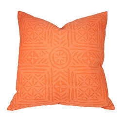 Deepali / De-cor - Applique Pillows, Mango Orange - Our hues in pastel color pillows are adorned with decorative handcrafted appliqué cutwork. Vibrant design is achieved using a 19th-century cut and fold paper pattern.